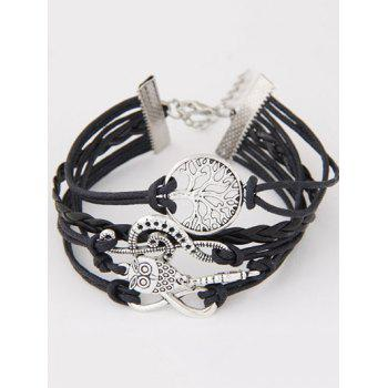 Music Notation Life Tree Owl Braided Bracelet - BLACK