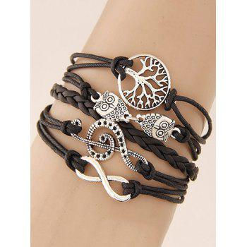 Music Notation Life Tree Owl Braided Bracelet