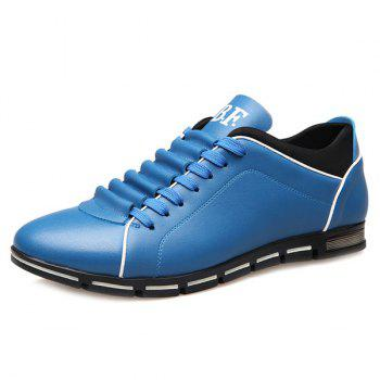 Trendy Splicing and PU Leather Design Men's Casual Shoes - BLUE 44