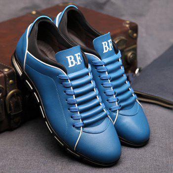 Trendy Splicing and PU Leather Design Men's Casual Shoes - BLUE BLUE