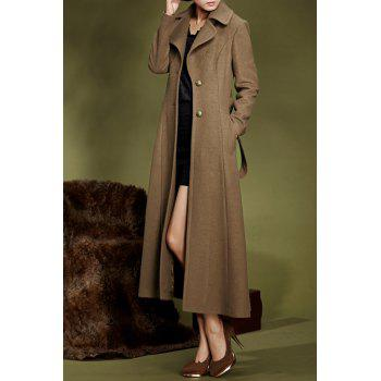 Single Breasted Maxi Coat with Belt - BROWN L