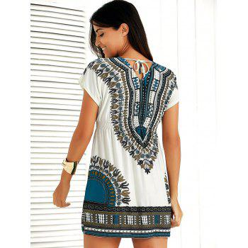 Casual Ethnic Summer Mini Dress - BLUE ONE SIZE