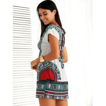 Casual Ethnic Summer Mini Dress - ROSE RED ONE SIZE