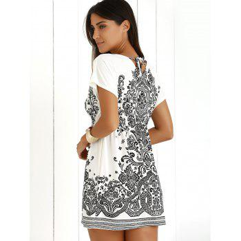 Casual Ethnic Summer Mini Dress - WHITE ONE SIZE