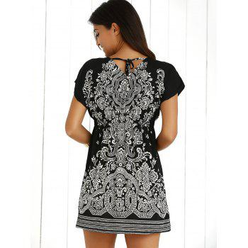 Casual Ethnic Summer Mini Dress - BLACK ONE SIZE