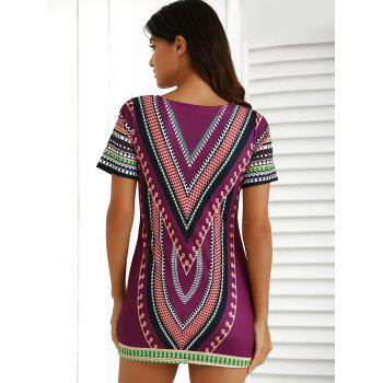 Chic Short Sleeve Patch Pocket Totem Printed Dress For Women - COLORMIX L