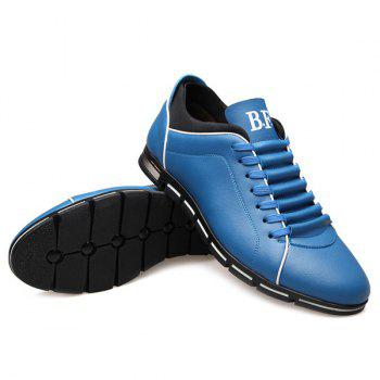 Trendy Splicing and PU Leather Design Men's Casual Shoes - BLUE 43