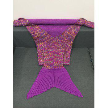 Stylish Colorful Rhombus Design Knitting Mermaid Shape Blanket - PURPLE
