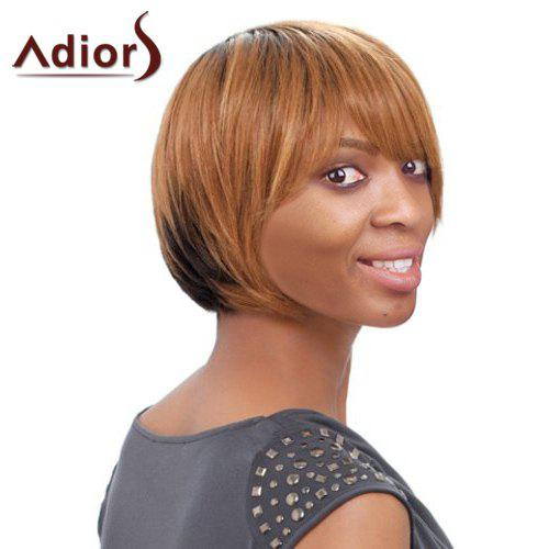 Women\'s Short Side Bang Mixed Color Straight Faddish Adiors Synthetic Hair Wig - COLORMIX