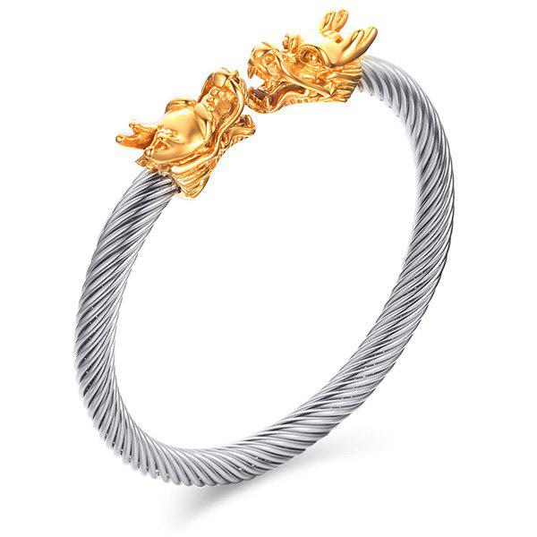 Fashional Silvery Twisted Gold Dragon Symmetry Bracelet For Men - SILVER/GOLDEN