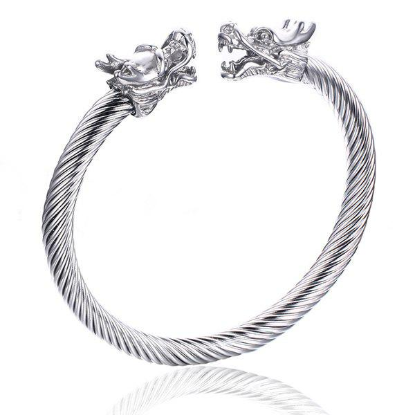 Fashional Solid Color Silvery Twisted Dragon Symmetry Bracelet For Men - SILVER