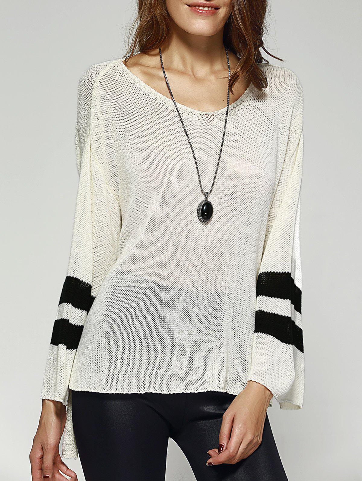 Chic Scoop Neck Loose Striped Sleeve High Low Knitwear For Women - ONE SIZE WHITE