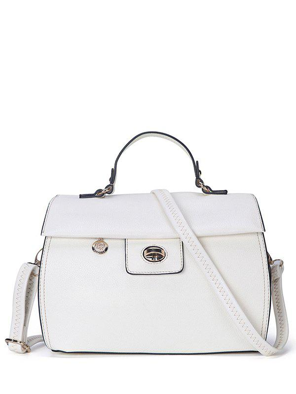 Elegant PU Leather and Hasp Design Women's Tote Bag - WHITE