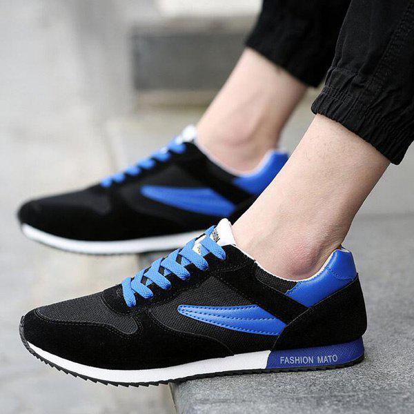 Trendy Breathable and Colour Splicing Design Men's Athletic Shoes - BLUE/BLACK 42