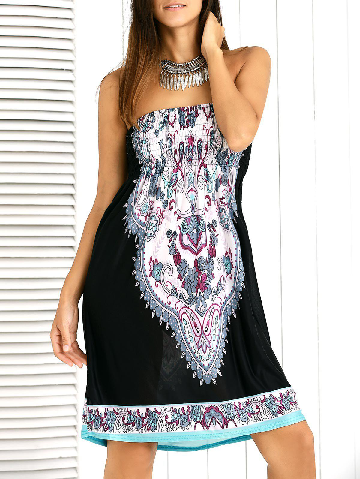 Alluring Paisley Ornate Printed Shirred Tube Dress For Women - BLACK ONE SIZE