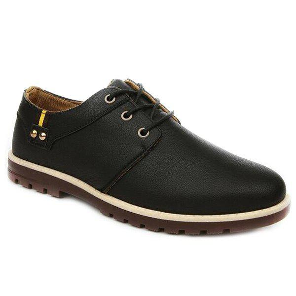 Fashionable Metal and Tie Up Design Men's Casual Shoes - BLACK 43
