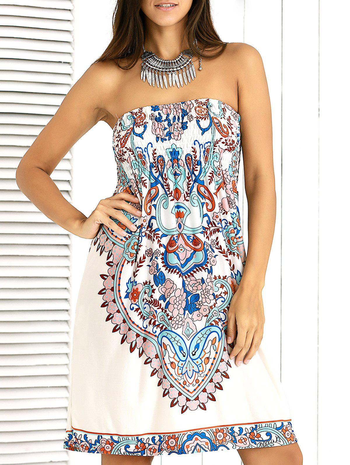 Stylish Shirred Paisley Ornate Printed Tube Dress For Women - ONE SIZE APRICOT