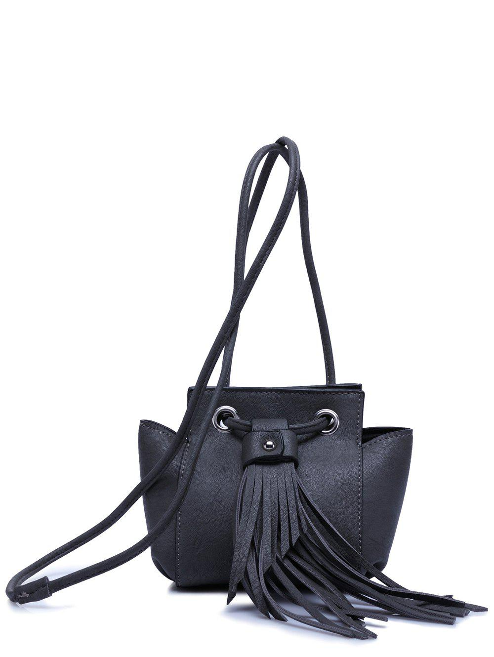 Stylish Fringe and Dark Color Design Women's Crossbody Bag - BLACK GREY
