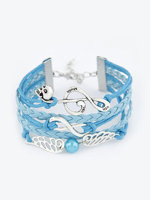 Wings Musical Note Braided Bracelet - BLUE