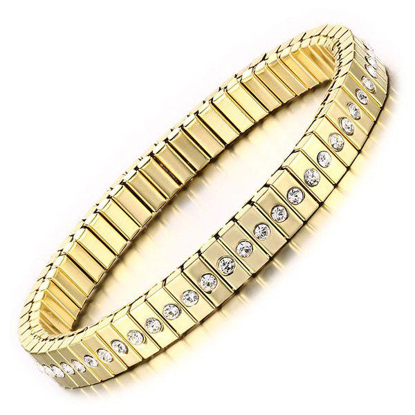 Sweet Gold Rhinestone Box Chain Bracelet For Women - CHAMPAGNE