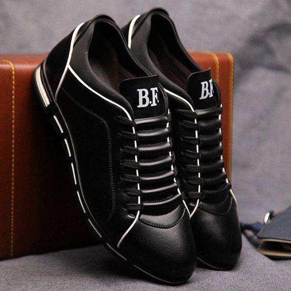 Trendy Splicing and PU Leather Design Men's Casual Shoes - BLACK 43