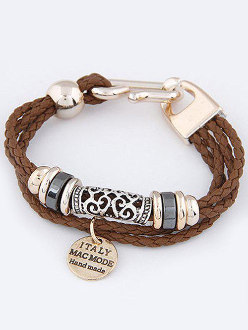 Disc Layered Braided Bracelet - BROWN