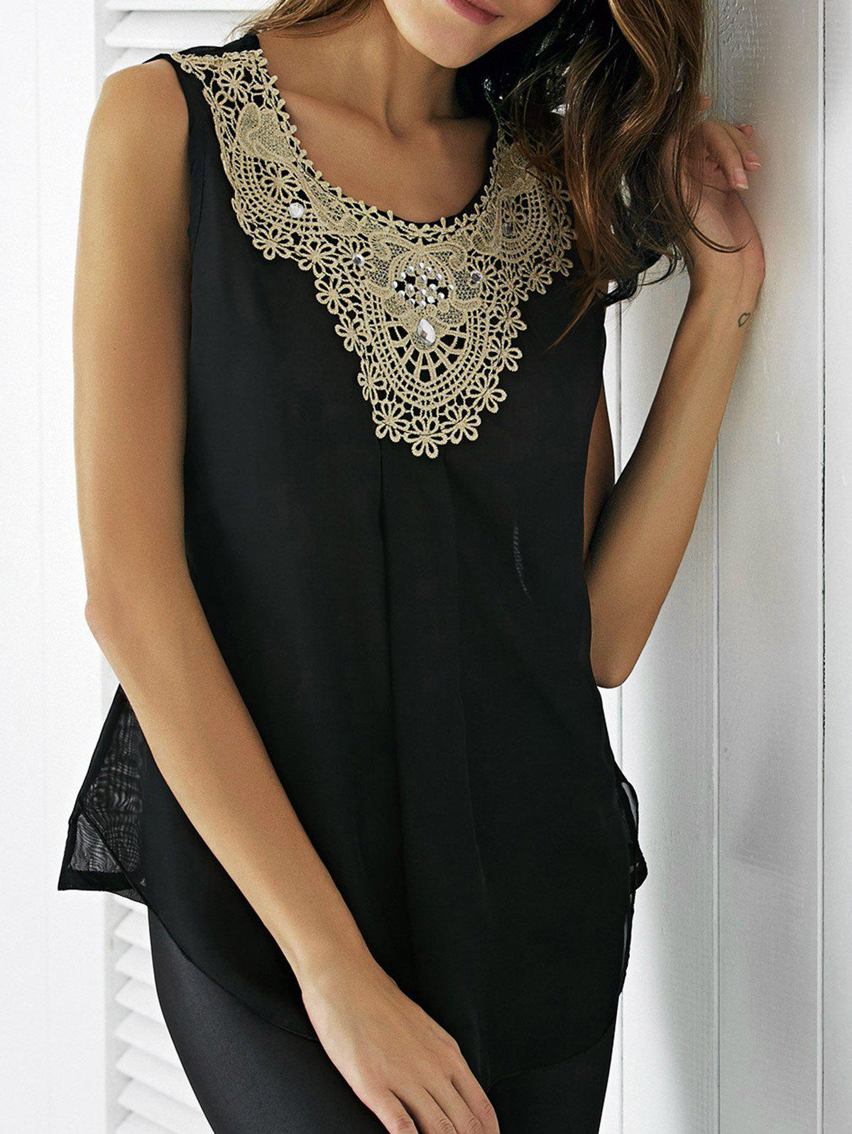 Ladylike Applique Beaded Tank Top For Women