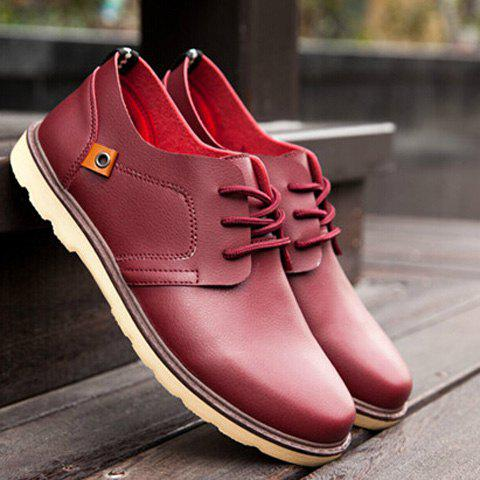 Stylish Solid Colour and Tie Up Design Men's Casual Shoes - WINE RED 43