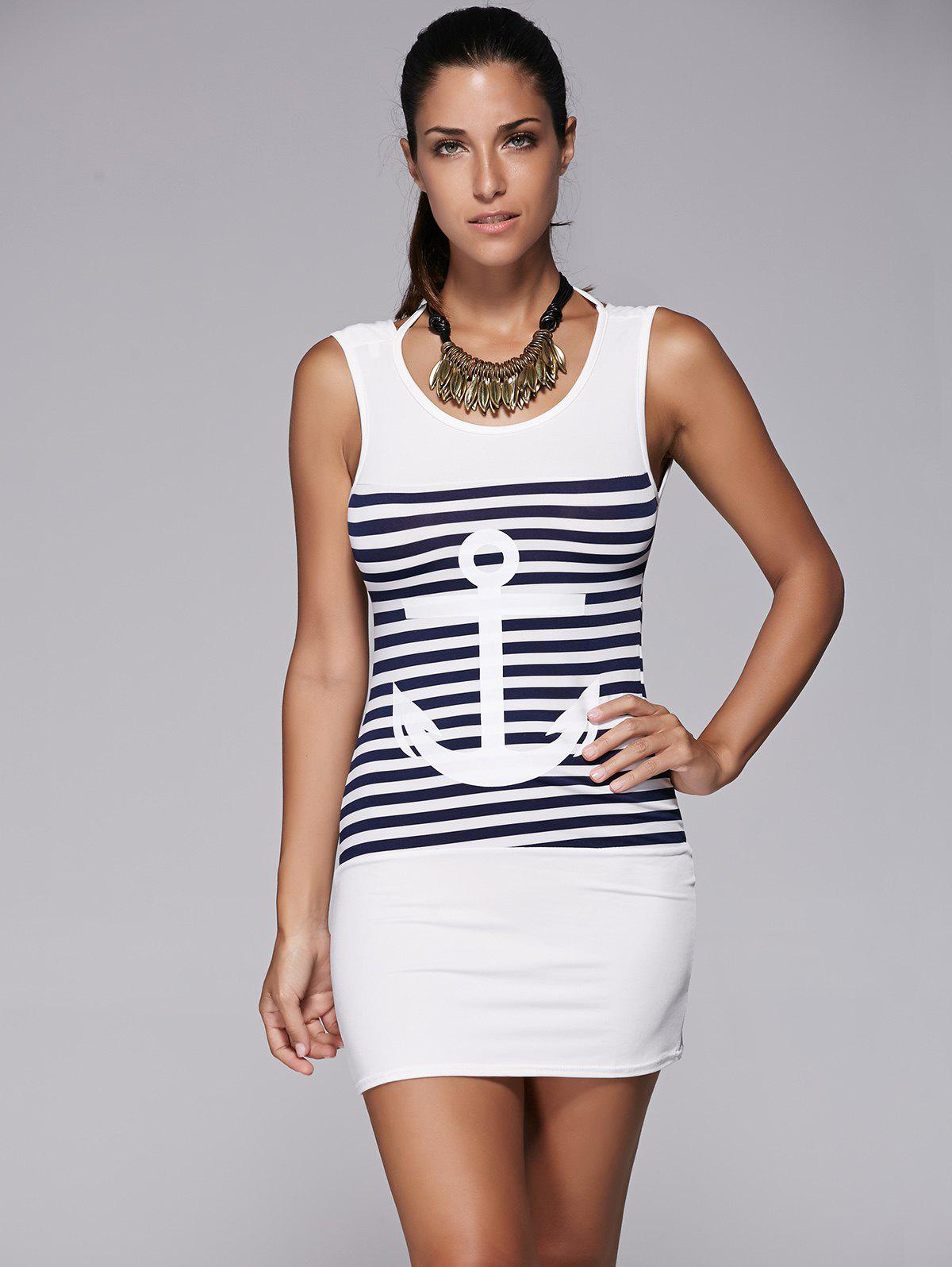 Casual Scoop Collar Anchor Pattern Striped Women's Dress - WHITE S