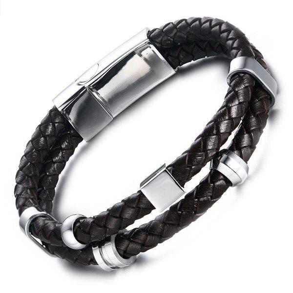 Vintage Braided Faux Leather Bracelet - BLACK