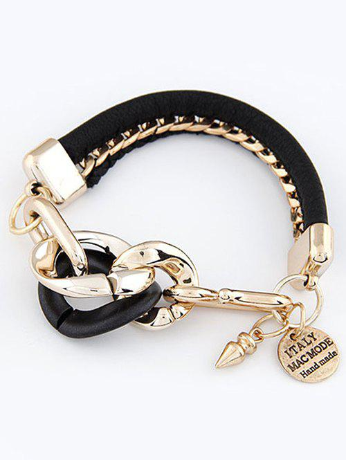 Punk Disc Engraved Braided Bracelet - BLACK