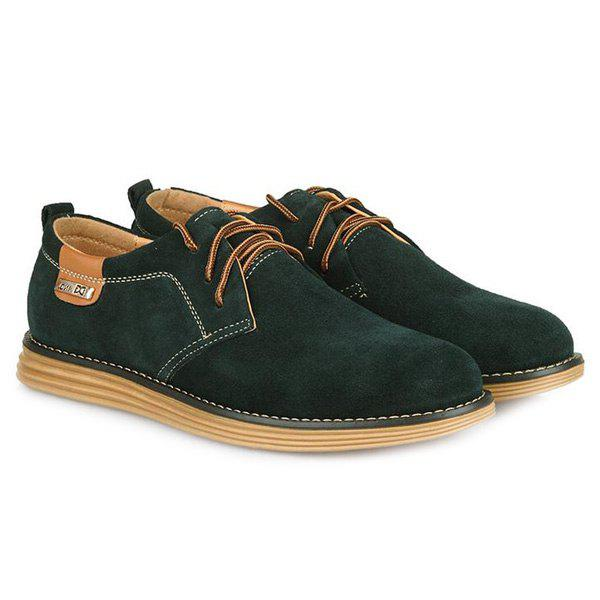 Stylish  Tie Up and Suede Design Men's Casual Shoes - BLACKISH GREEN 43