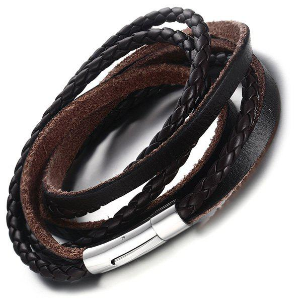 Braided Faux Leather Layered Bracelet - BROWN