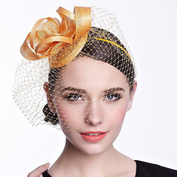 Vintage Solid Color Blossom Nets Party Hairband For Women - YELLOW