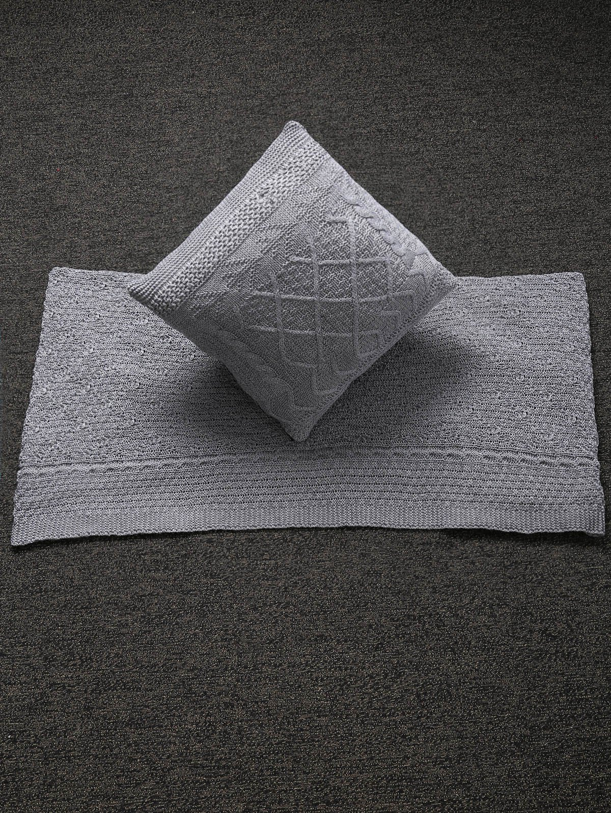 Stylish Home Decor Warm Comfortable Rhombus Knitted Pillow Case and Blanket - GRAY