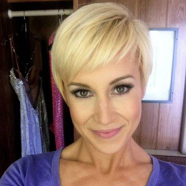 Short Pixie Cut Side Bang Women's Handsome Human Hair Wig - GOLDEN BROWN/BLONDE