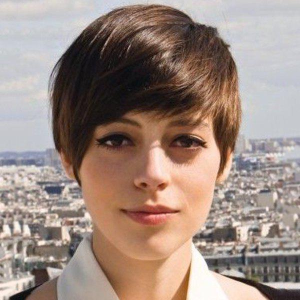 Short Pixie Cut Full Bang Women's Handsome Human Hair Wig - MEDIUM BROWN