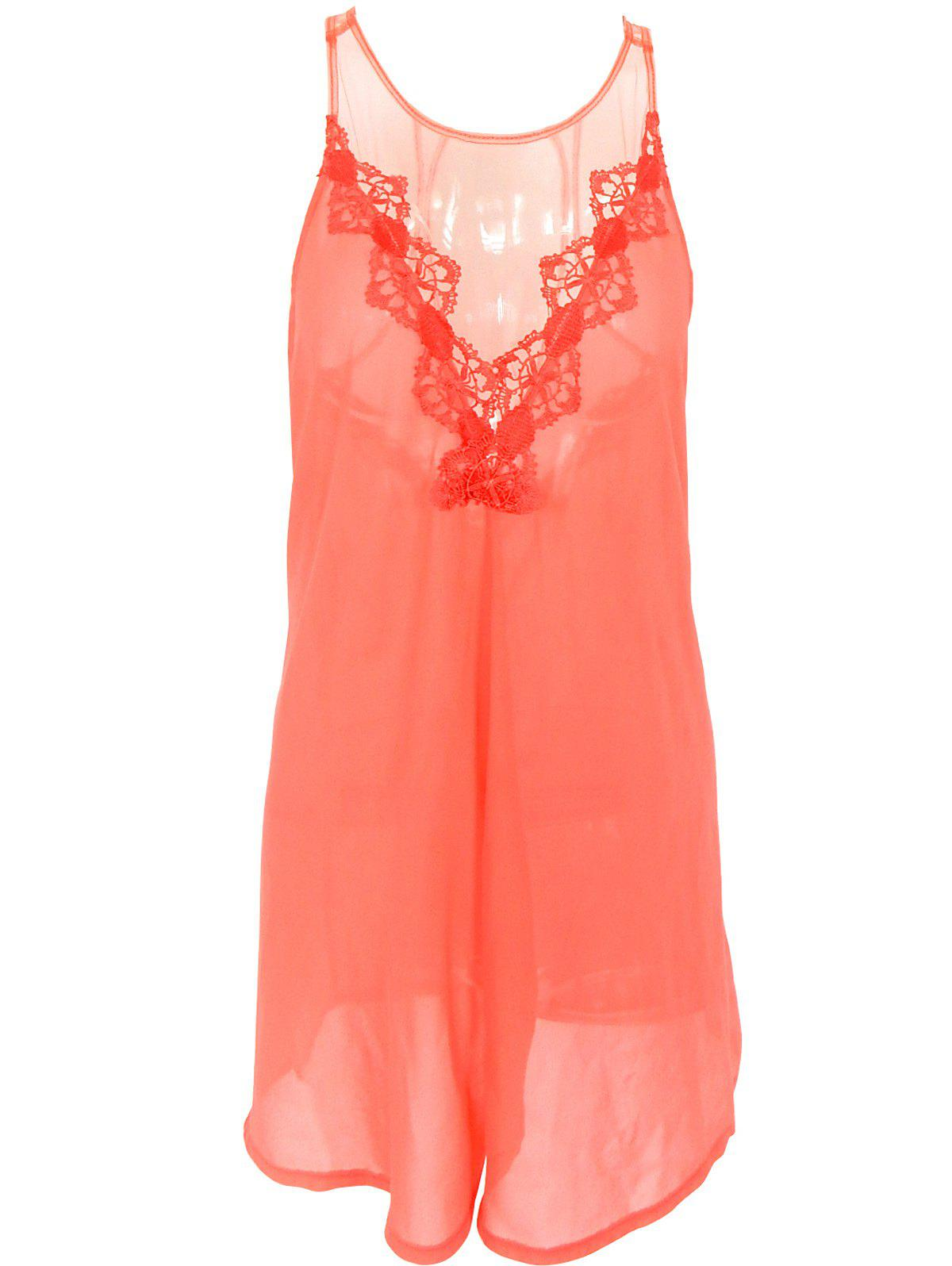 Lace Insert See-Through Backless Dress - ORANGE RED XL