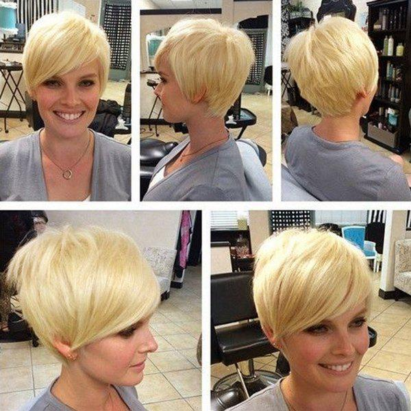 Short Golden Brown with Blonde Side Bang Women's Spiffy Human Hair Wig
