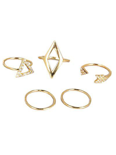 Rhinestone Cut Out Triangle Geometric Ring Set - GOLDEN