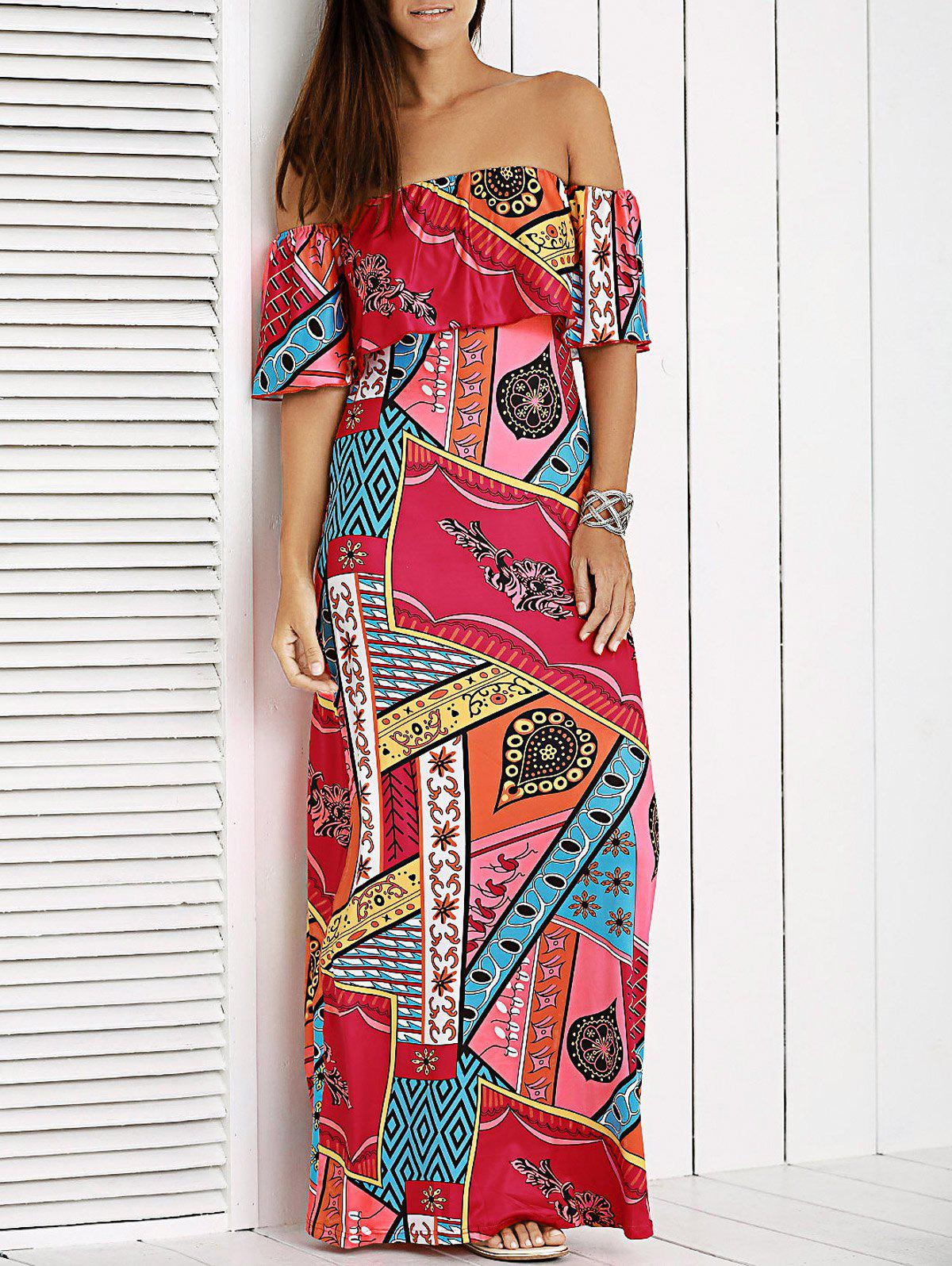 Glamour Off The Shoulder Patchwork Printed Dress For Women - RED XL