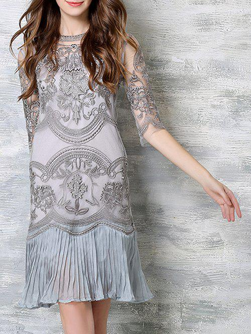 Chic Cami Tank Top + Embroidery Ruched Splicing Dress Women's Twinset - GRAY 2XL