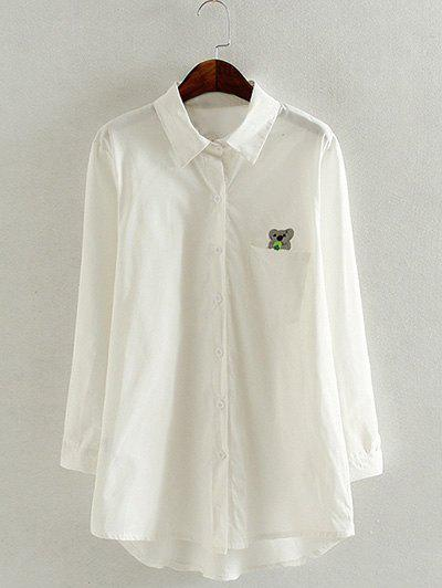 Oversized Koala Embroidered White ShirtWomen<br><br><br>Size: 5XL<br>Color: WHITE