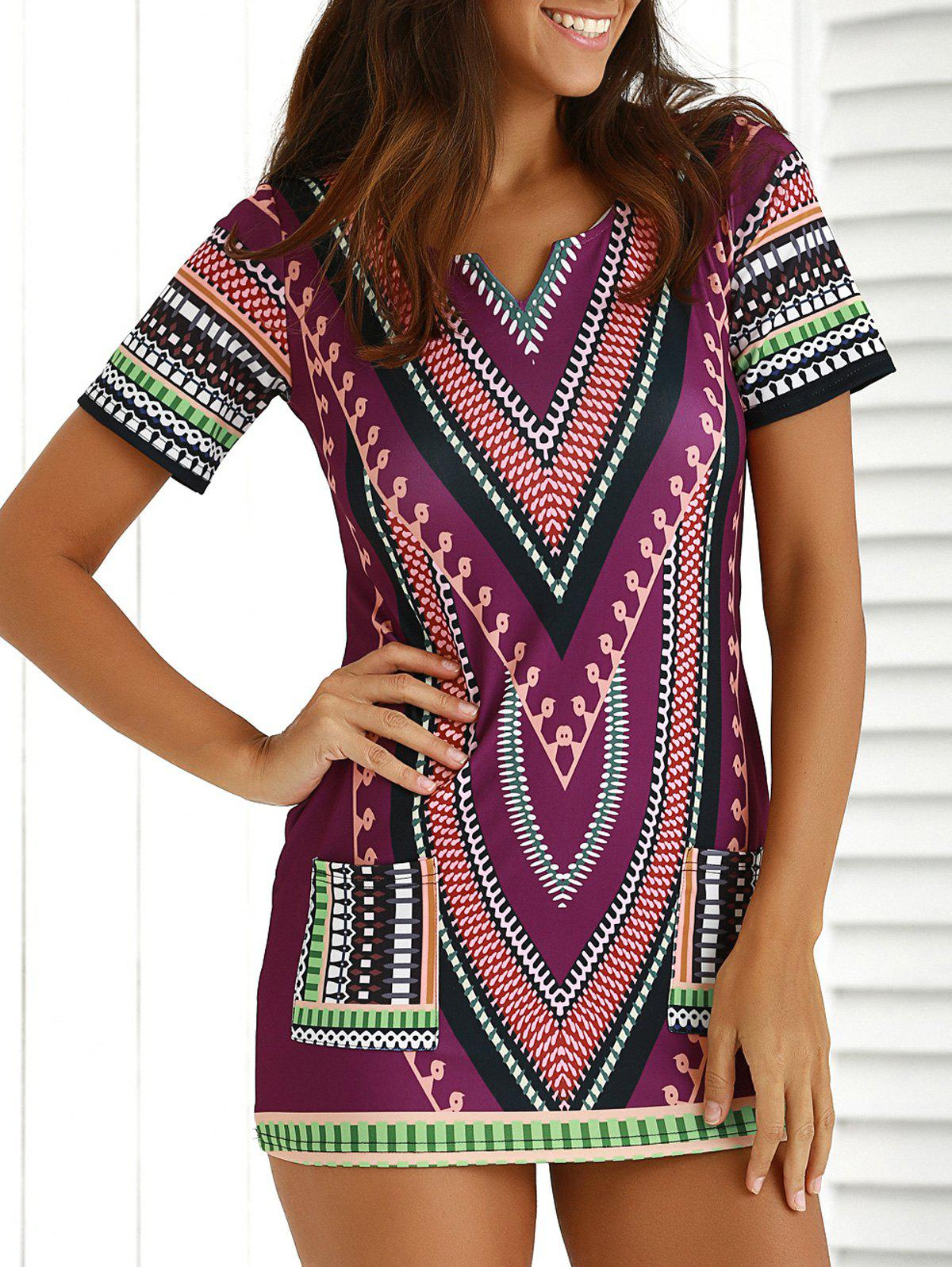 Chic Short Sleeve Patch Pocket Totem Printed Dress For Women - COLORMIX XL
