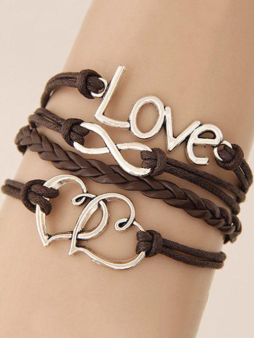 Stylish Hearts Infinite Braided Bracelet - BROWN