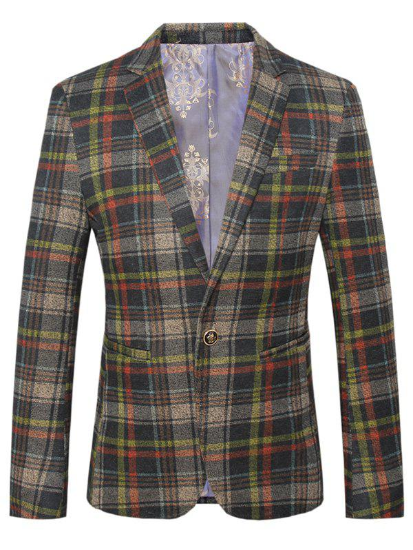Lapel One Button Design Plus Size Checked Long Sleeve Men's Blazer - CHECKED 4XL