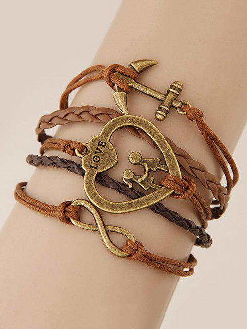 Infinity Heart Anchor Braided Bracelet - BROWN