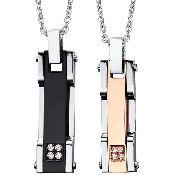 A Set of Chic Rhinestone Geometry Pendants For Lover - BLACK/GOLDEN