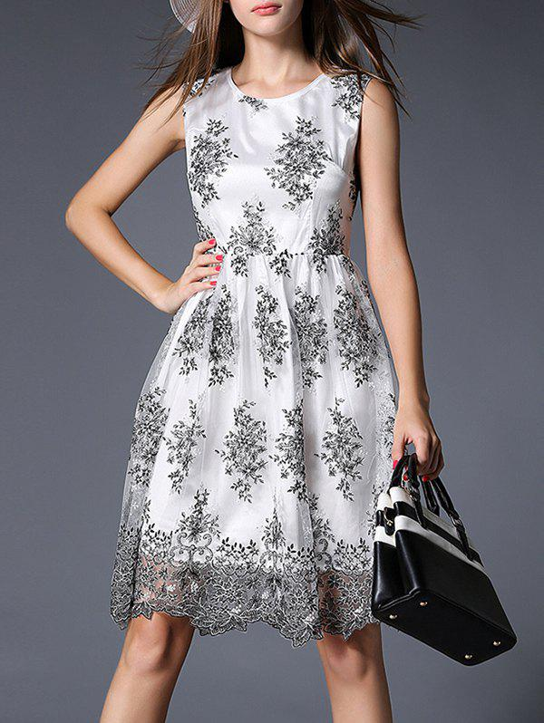 Trendy Sleeveless Embroidered Voile Spliced Women's Dress - WHITE XL