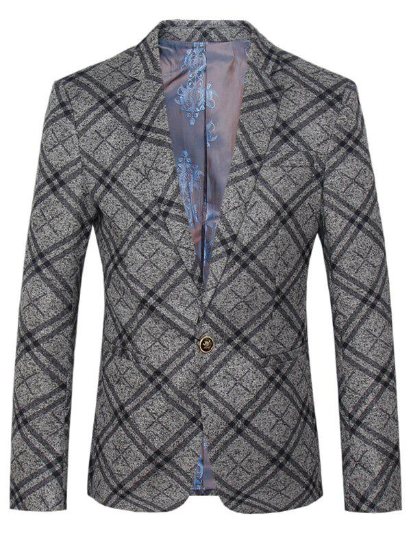 Lapel One Button Design Plus Size Tartan Long Sleeve Men's Blazer - COLORMIX 4XL